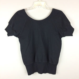 Left of Center black sweatshirt style cropped top